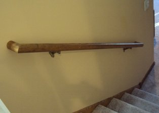 Installing a wood handrail stair railing for Exterior wall mounted handrails for stairs